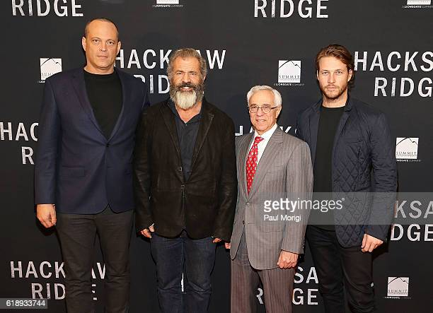 Actor Vince Vaughn Director Mel Gibson Medal of Honor recipient Col Jack Jacobs and Actor Luke Bracey attend the 'Hacksaw Ridge' DC Screening at the...