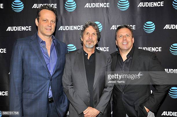 Actor Vince Vaughn director Peter Farrelly and SVP Original Content and Production ATT Chris Long attend the ATT Audience Network TCA Event at The...