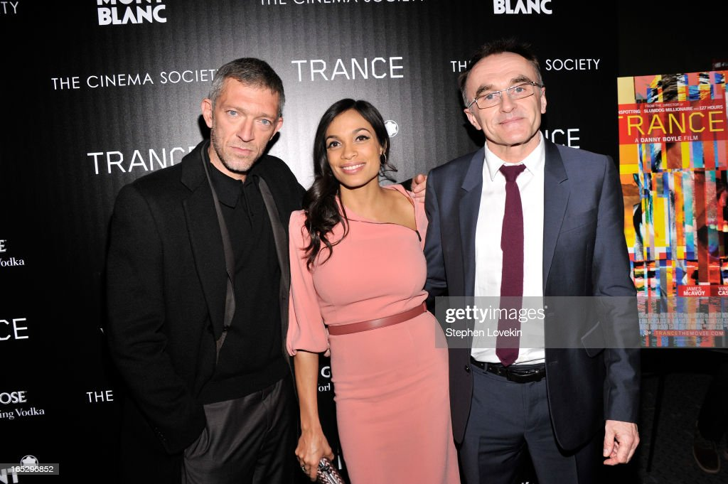 Actor Vincent Cassel, actress Rosario Dawson and director Danny Boyle attend the premiere of Fox Searchlight Pictures' 'Trance' hosted by The Cinema Society & Montblanc at SVA Theater on April 2, 2013 in New York City.