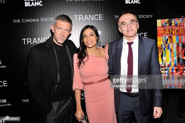 Actor Vincent Cassel actress Rosario Dawson and director Danny Boyle attend the premiere of Fox Searchlight Pictures' 'Trance' hosted by The Cinema...