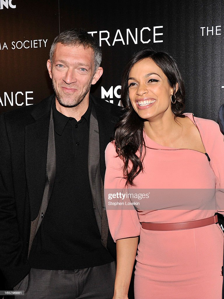 Actor Vincent Cassel and Actress Rosario Dawson attend the premiere of Fox Searchlight Pictures' 'Trance' hosted by The Cinema Society & Montblanc at SVA Theater on April 2, 2013 in New York City.