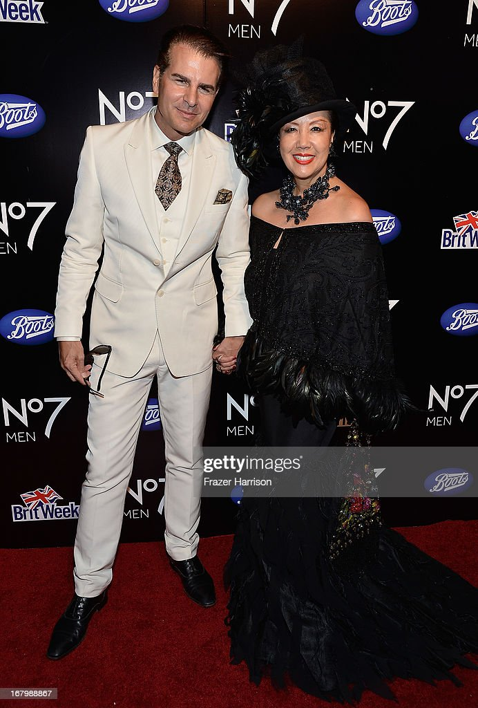 Actor <a gi-track='captionPersonalityLinkClicked' href=/galleries/search?phrase=Vincent+De+Paul&family=editorial&specificpeople=648138 ng-click='$event.stopPropagation()'>Vincent De Paul</a> (L) and designer Sue Wong attend the Boots Not Men Launch at Britweek 2013 at The Fairmont Miramar Hotel on May 3, 2013 in Santa Monica, California.
