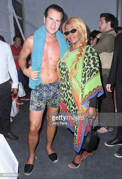Actor Vincent De Paul and Janice Combs pose backstage at the AZ Araujo show during MercedesBenz Fashion Week Swim 2015 The Raleigh Hotel on July 21...