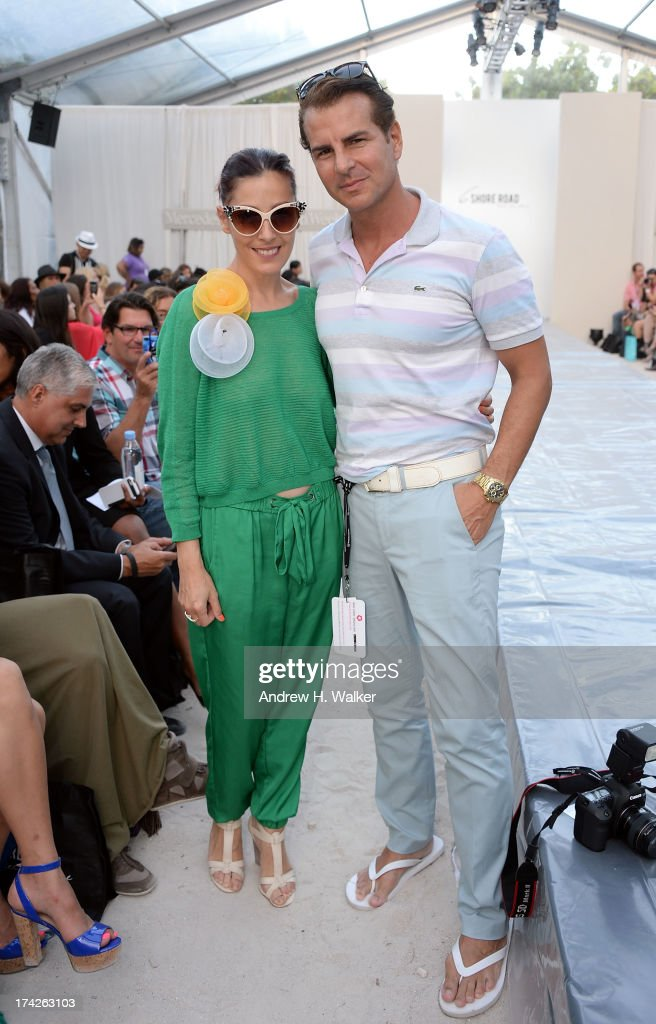 Actor Vincent De Paul (R) attends the 6 Shore Road show during Mercedes-Benz Fashion Week Swim 2014 at the Raleigh on July 22, 2013 in Miami Beach, Florida.