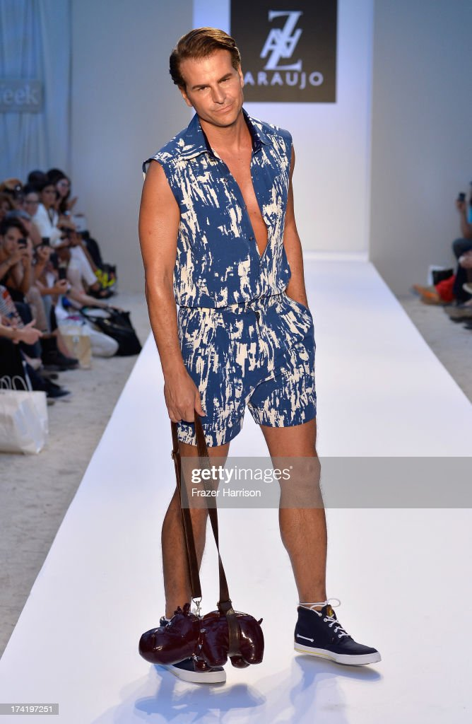 Actor Vincent de Paul walks the runway at the A.Z. Araujo show during Mercedes-Benz Fashion Week Swim 2014 at Oasis at the Raleigh on July 21, 2013 in Miami, Florida.