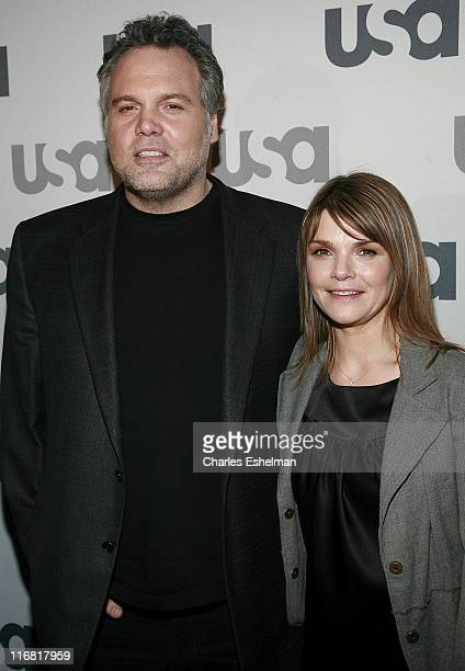 Actor Vincent D'Onofrio and Actress Kathryn Erbe attend the 2008 USA Network UpFront at The Modern on March 26 2008 in New York City