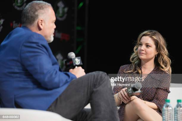 Actor Vincent D'Onofrio and Clare Kramer speak on stage during Emerald City Comic Con at Washington State Convention Center on March 5 2017 in...