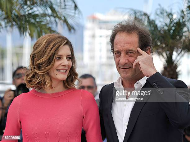Actor Vincent Lindon and actress Chiara Mastroianni attend the 'Les Salauds' Photocall during the 66th Annual Cannes Film Festival on May 22 2013 in...