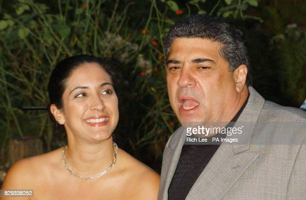 Actor Vincent Pastore from The Sopranos and his daughter Renee arrive for the premiere of her latest film Shark Tale held at the Delacorte Theatre in...