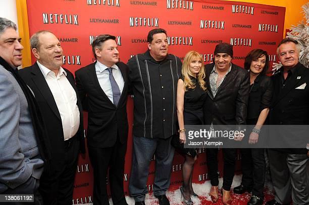 Actor Vincent Pastore producer Harvey Weinstein Netflix Chief Content Officer Ted Sarandos actor Steve Schirripa actress Maureen Van Zandt actor...
