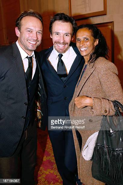Actor Vincent Perez with his wife Karine Silla and Star Dancer Nicolas le Riche who receives the Insignia of Officer of the Legion of Honour at Opera...