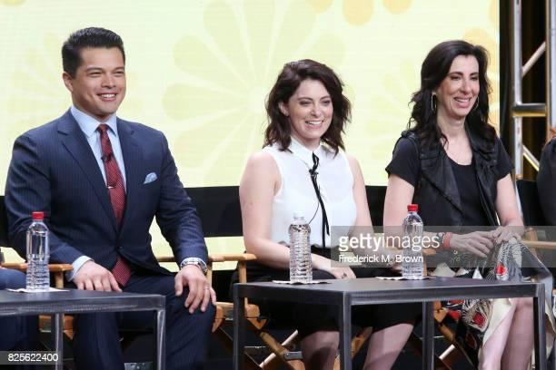 Actor Vincent Rodriguez III actor/executive producer Rachel Bloom and executive producer Aline Brosh McKenna of 'Crazy ExGirlfriend' speak onstage...