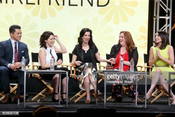 Actor Vincent Rodriguez III actor/executive producer Rachel Bloom executive producer Aline Brosh McKenna and actors Donna Lynne Champlin and...