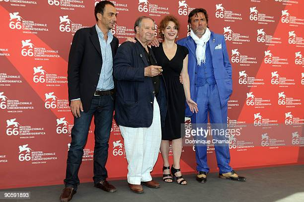 Actor Vincenzo Varzi director Tinto Brass actress Caterina Varzi and actor Alberto Petrolini attend 'Hotel Courbet' Photocall at the Palazzo del...