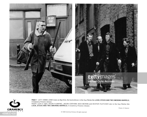Actor Vinnie Jones actors Jason Flemyng Jason Statham Nick Moran and Dexter Fletcher on the set of the Gramercy Picture movie 'Lock Stock and Two...