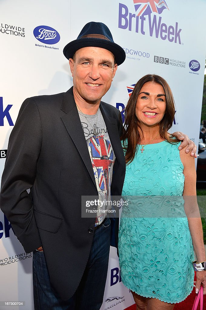 Actor Vinnie Jones (L) and Tanya Jones attend the launch of the Seventh Annual BritWeek Festival 'A Salute To Old Hollywood' on April 23, 2013 in Los Angeles, California.