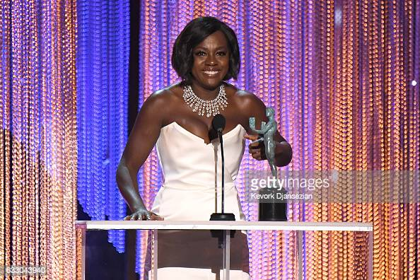 Actor Viola Davis accepts the award for Best Female Actor in a Supporting Role for 'Fences' onstage during the 23rd Annual Screen Actors Guild Awards...