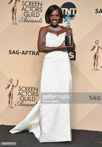 Actor Viola Davis winner of the Outstanding Female Actor in a Supporting Role award for 'Fences' poses in the press room during the 23rd Annual...