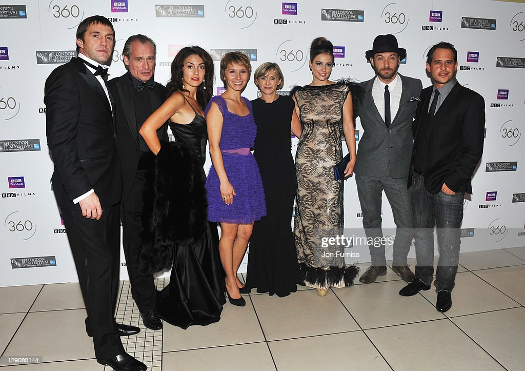 Actor Vladimir Vdovichenkov, actor Johannes Krisch, actress Lucia Siposova, actress Dinara Drukarova, festival director Sandra Hebron, actress Gabriela Marcinkova, actor <a gi-track='captionPersonalityLinkClicked' href=/galleries/search?phrase=Jude+Law&family=editorial&specificpeople=156401 ng-click='$event.stopPropagation()'>Jude Law</a> and actor Moritz Bleibtreu attend the European premiere of '360' during the BFI London Film Festival Opening Gala at the Odeon Leicester Square on October 12, 2011 in London, England.