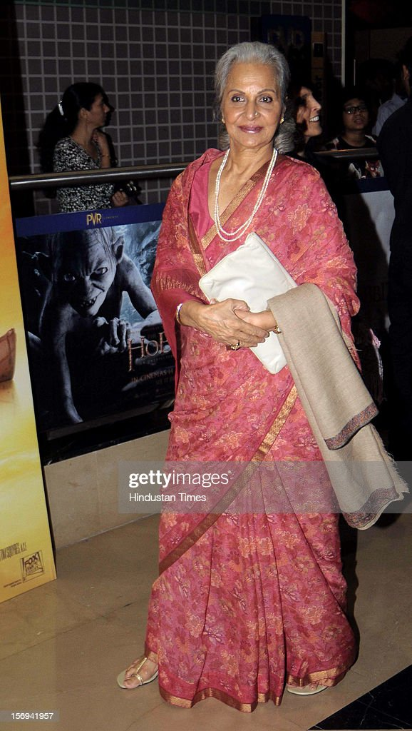 Actor Waheeda Rehman during the special screening of 'Life of PI' movie at PVR Juhu on November 21, 2012, in Mumbai, India. The film opens on November 13, 2012.