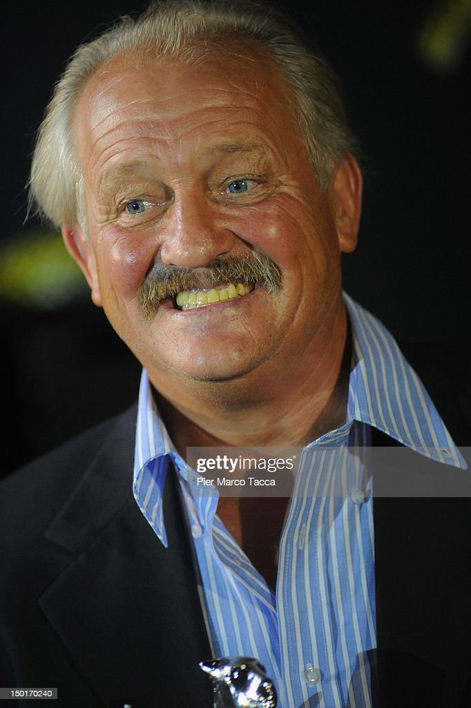 Actor Walter Saabel poses with the Best Actor award during the 65th Locarno Film Festival on August 11, 2012 in Locarno, Switzerland.