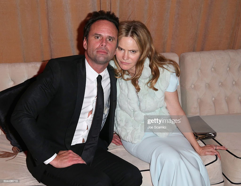 Actor Walton Goggins and actress Jennifer Jason Leigh attend The Weinstein Company and Netflix Golden Globe Party presented with DeLeon Tequila Laura...