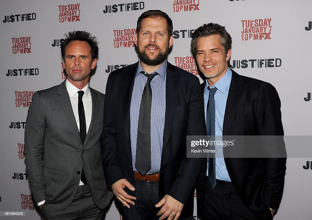 Actor <a gi-track='captionPersonalityLinkClicked' href=/galleries/search?phrase=Walton+Goggins&family=editorial&specificpeople=656067 ng-click='$event.stopPropagation()'>Walton Goggins</a>, FX's Nick Grad and actor <a gi-track='captionPersonalityLinkClicked' href=/galleries/search?phrase=Timothy+Olyphant&family=editorial&specificpeople=589275 ng-click='$event.stopPropagation()'>Timothy Olyphant</a> attend the season 5 premiere screening of FX's 'Justified' at the DGA Theater on January 6, 2014 in Los Angeles, California.