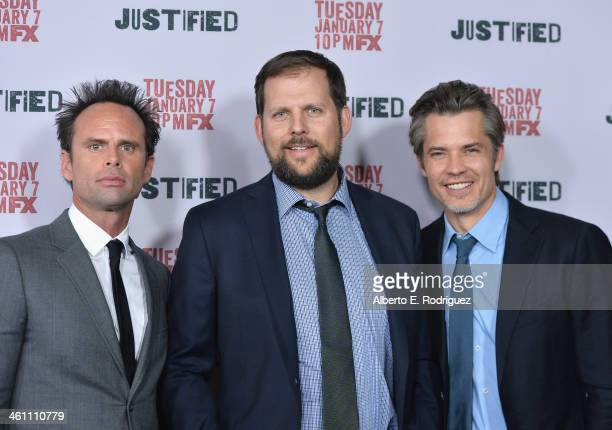 Actor Walton Goggins President of Original Programming for FX Networks Nick Grad and actor Timothy Olyphant arrive to the Season 5 premiere of FX's...