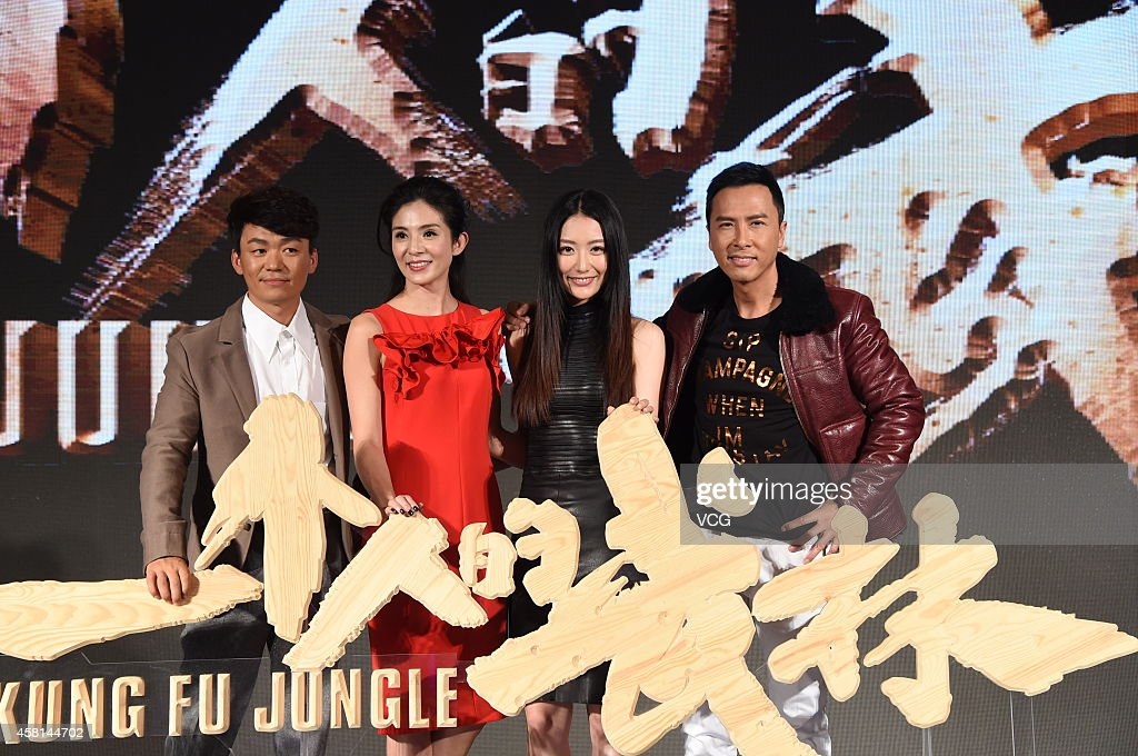 Actor Wang Baoqiang actress Charlie Yeung actress Michelle Bai and Donnie Yen attend director Teddy Chan's new movie 'Kung Fu Jungle' press...