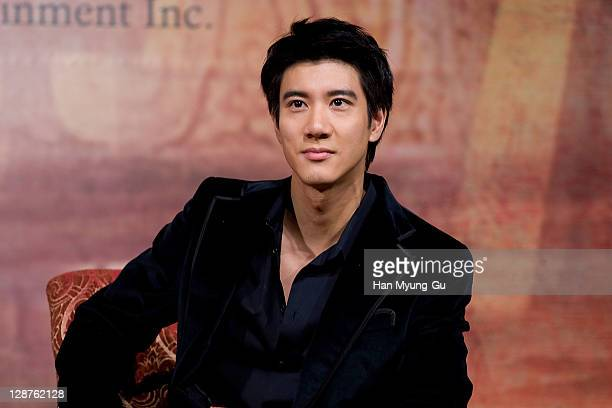 Actor Wang Leehom attends a press conference for 'Yang Gui Fei' during the 16th Busan International Film Festival at Grand Hotel on October 7 2011 in...