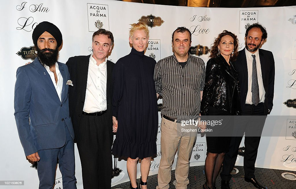 Actor Waris Ahluwalia, President of Magnolia Pictures Eamonn Bowles, actress Tilda Swinton, actor Pippo delbono, actress Marisa Berenson, and director Luca Guadagnino attend the premiere of 'I Am Love' at the School of Visual Arts Theater on June 16, 2010 in New York City.