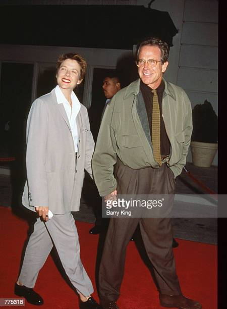 Actor Warren Beatty and wife actress Annette Bening attend the premiere of 'The Bridges of Madison County' at Warner Brothers'' Steven J Ross Theatre...