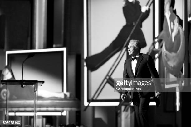 Actor Warren Beatty speaks onstage during American Film Institute's 45th Life Achievement Award Gala Tribute to Diane Keaton at Dolby Theatre on June...