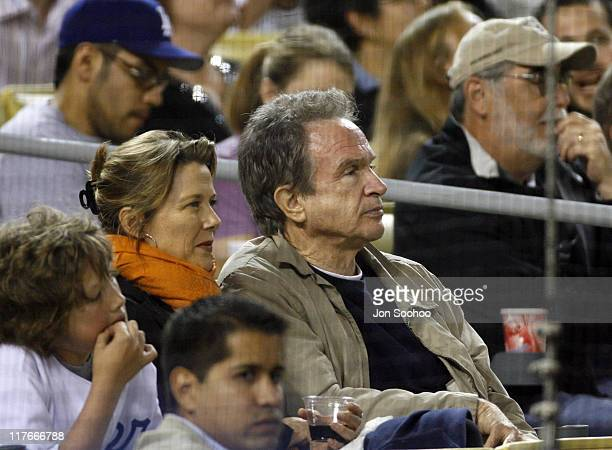 Actor Warren Beatty with wife actress Annette Bening at the Los Angeles Dodgers and Los Angeles Angels of Anaheim game on Friday May 192006 at Dodger...