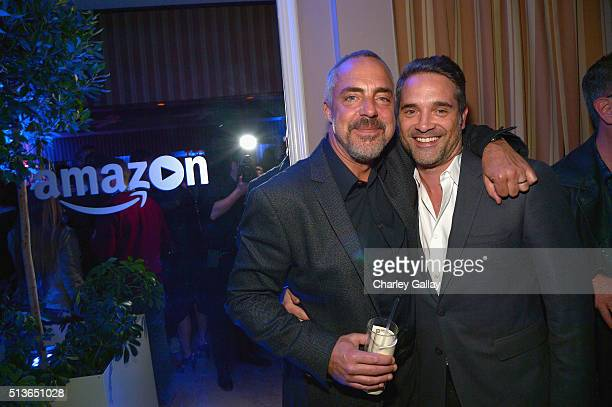 Actor Welliver and Head of Drama Series for Amazon Studios Morgan Wandell attends Amazon Red Carpet Premiere Screening For Season Two Of Original...
