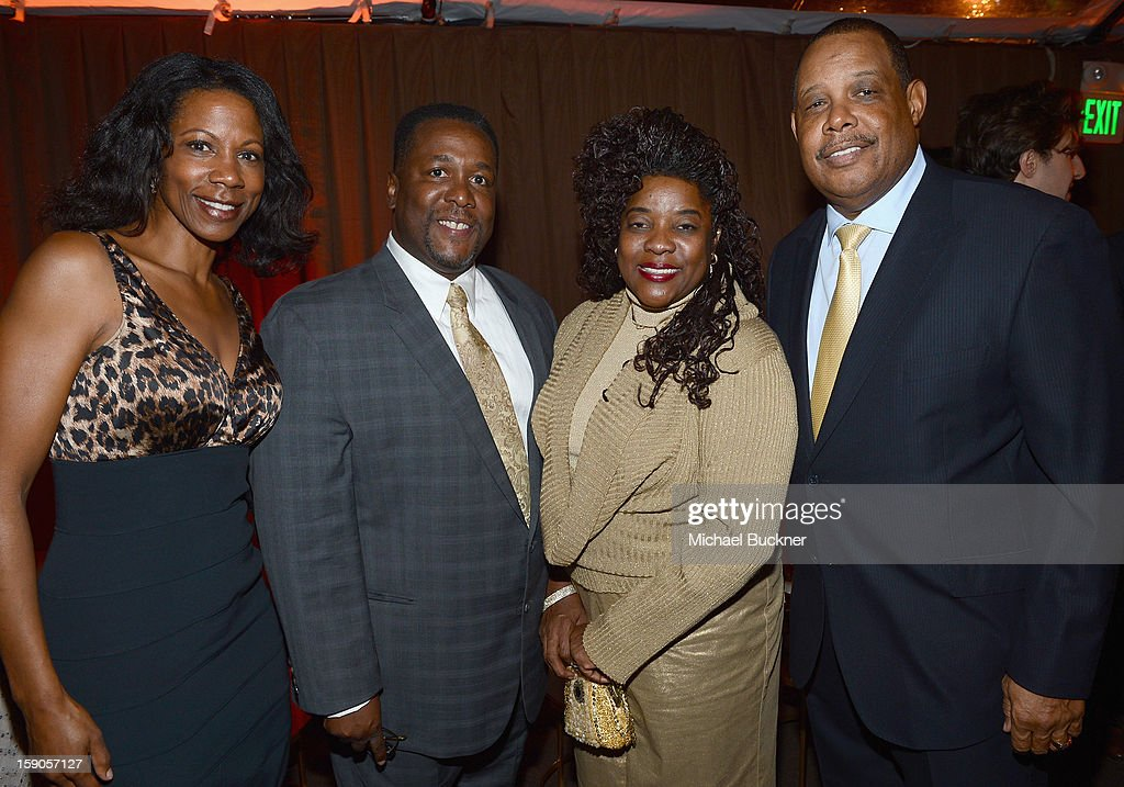 Actor Wendell Pierce (2nd from L) and Loretta Devine (3rd from L) attend the Audi Golden Globes Kick Off 2013 at Cecconi's Restaurant on January 6, 2013 in Los Angeles, California.