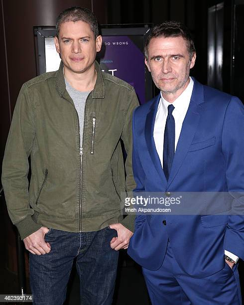 Actor Wentworth Miller and director Erik Van Looy attend the screening of Open Road Films' 'The Loft' at Directors Guild Of America on January 27...