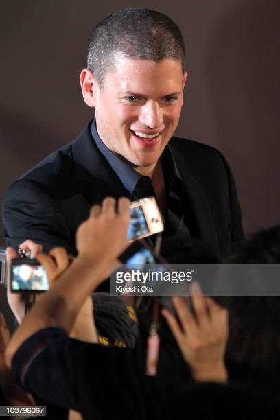 Actor Wentworth Miller signs autographs for fans during the World Premiere of 'Resident Evil Afterlife' at Roppongi Hills on September 2 2010 in...