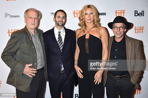 Actor Werner Herzog Producer Michael Benaroya Actress Veronica Ferres and Actor Lawrence Krauss attend the 'Salt and Fire' premiere during the 2016...