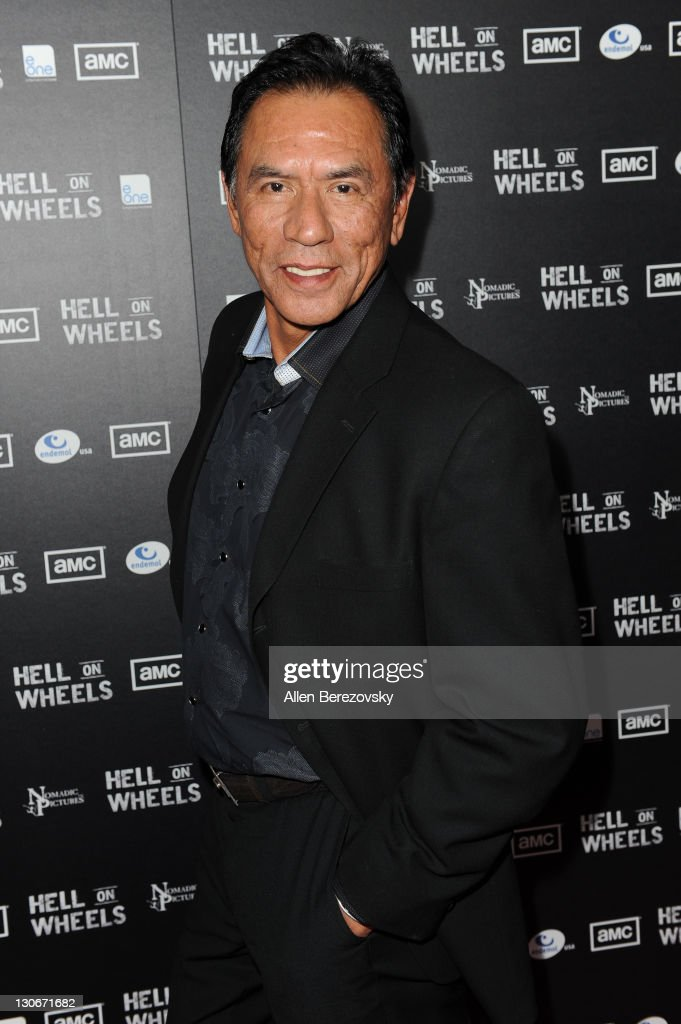 Actor <a gi-track='captionPersonalityLinkClicked' href=/galleries/search?phrase=Wes+Studi+-+Actor&family=editorial&specificpeople=1147913 ng-click='$event.stopPropagation()'>Wes Studi</a> arrives at AMC's 'Hell On Wheels' Los Angeles premiere at L.A. LIVE on October 27, 2011 in Los Angeles, California.