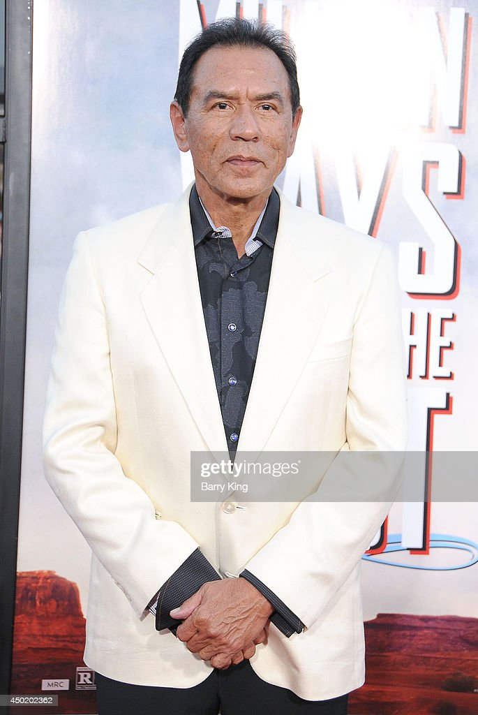 Actor <a gi-track='captionPersonalityLinkClicked' href=/galleries/search?phrase=Wes+Studi+-+Actor&family=editorial&specificpeople=1147913 ng-click='$event.stopPropagation()'>Wes Studi</a> arrives at the Los Angeles Premiere 'A Million Ways To Die In The West' on May 15, 2014 at Regency Village Theatre in Westwood, California.