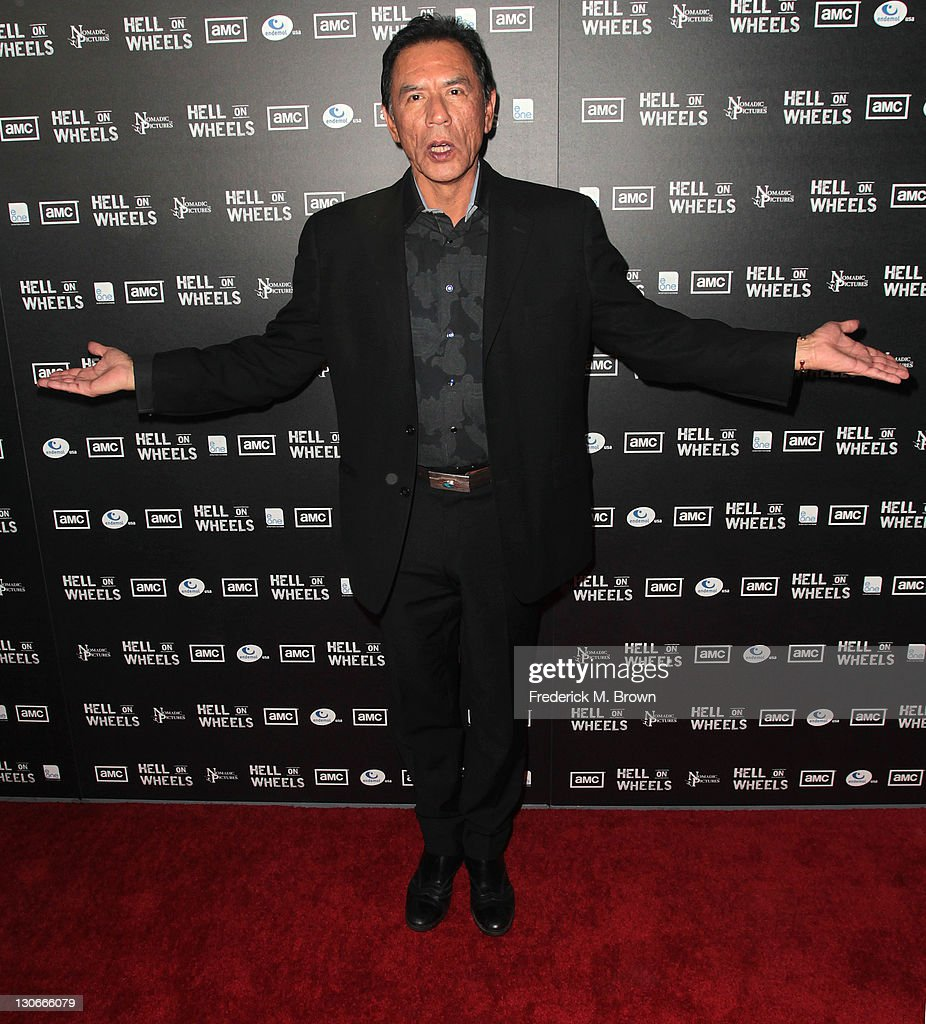 Actor <a gi-track='captionPersonalityLinkClicked' href=/galleries/search?phrase=Wes+Studi+-+Actor&family=editorial&specificpeople=1147913 ng-click='$event.stopPropagation()'>Wes Studi</a> attends the premiere of AMC's 'Hell on Wheels' at L.A. Live on October 27, 2011 in Los Angeles, California.