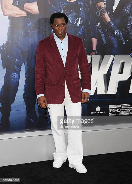 Actor Wesley Snipes arrives at the Los Angeles premiere of 'The Expendables 3' at TCL Chinese Theatre on August 11 2014 in Hollywood California
