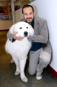 Actor who played Sebastien in the serie 'Belle et Sebastien' from 1965 Mehdi El Glaoui with the dog Berger present the movie 'Belle et Sebastien'...