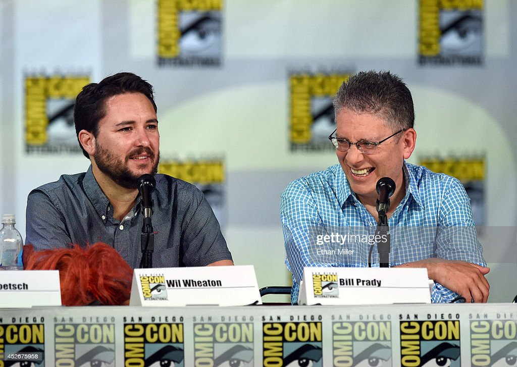 Actor Wil Wheaton and writer/producer Bill Prady attend CBS' 'The Big Bang Theory' panel at the San Diego Convention Center on July 25 2014 in San...