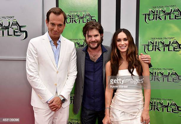 Actor Will Arnett director Jonathan Liebesman and actress Megan Fox attend the premiere of Paramount Pictures' 'Teenage Mutant Ninja Turtles' at...