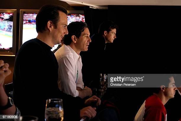 Actor Will Arnett NHL great Brendan Shanahan and actor Jason Bateman watch the men's gold medal hockey game between the United States and Canada in...