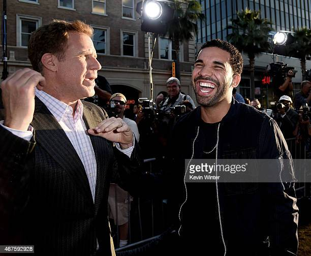 Actor Will Farrell and rapper Drake arrive at the premiere of Warner Bros Pictures' 'Get Hard' at the Chinese Theatre on March 25 2015 in Los Angeles...