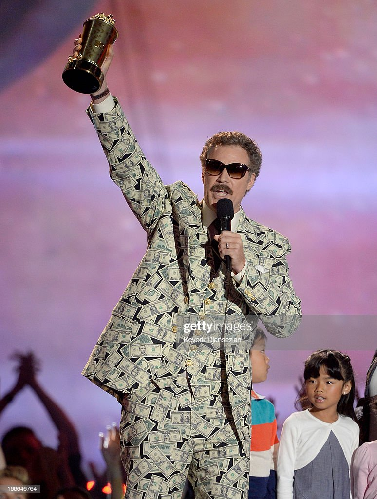 Actor Will Ferrell accepts the Comedic Genius Award onstage during the 2013 MTV Movie Awards at Sony Pictures Studios on April 14, 2013 in Culver City, California.