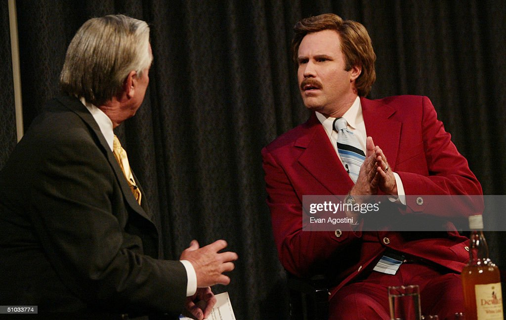 Actor Will Ferrell (R) aka Ron Burgundy participates in Q&A with moderator Bill Kurtis after a special screening of the film 'Anchorman: The Legend of Ron Burgundy' at the Museum of Television and Radio July 7, 2004 in New York City.